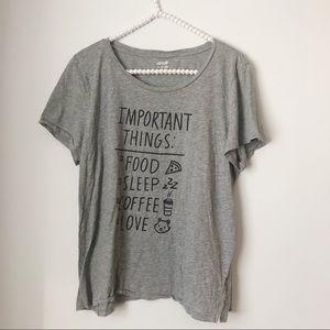 Aerie Food Coffee Love Grey Graphic T Shirt